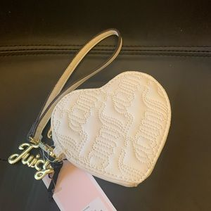 Juicy Couture White Heart Wristlet  - NWT